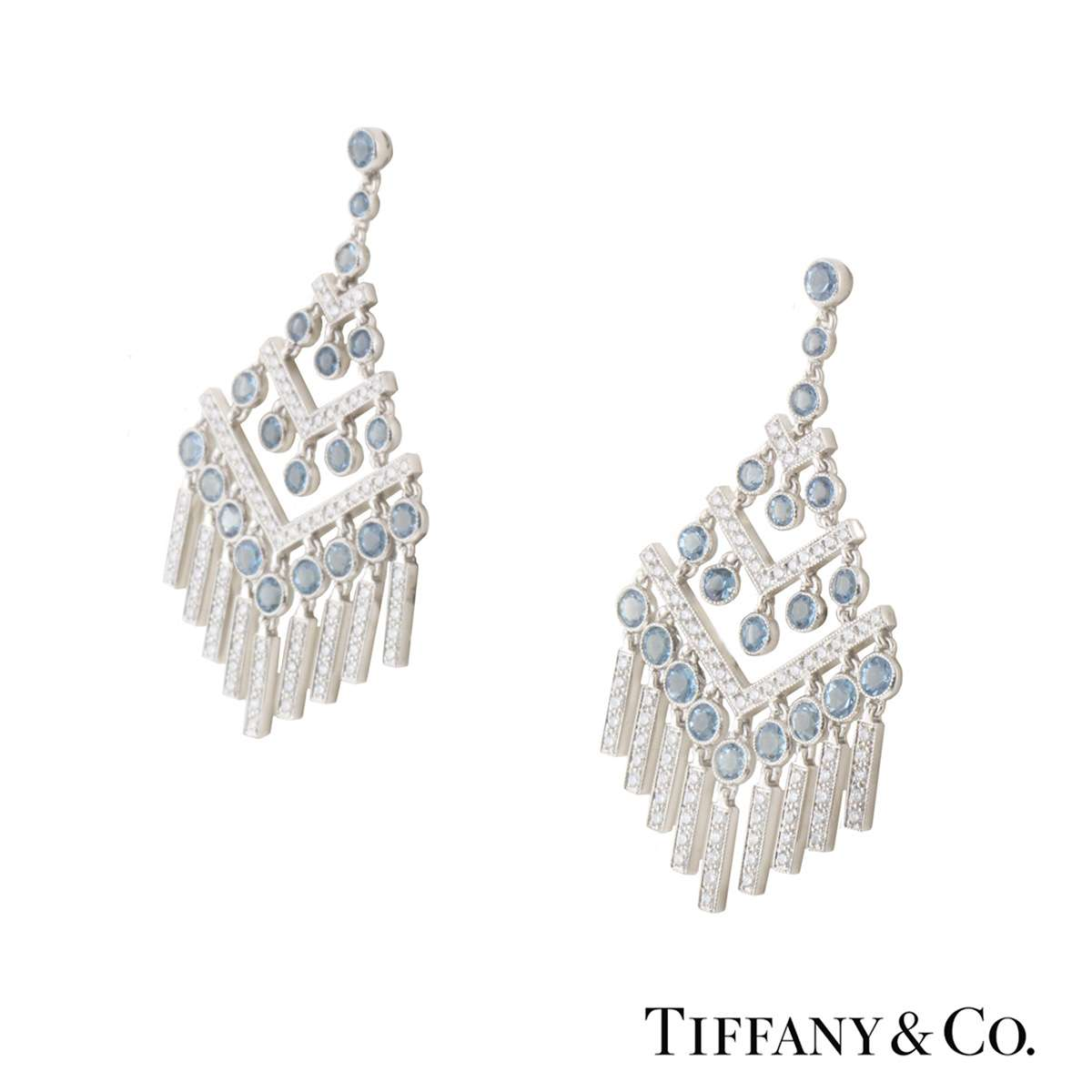 Tiffany & Co. Platinum Diamond and Aquamarine Jazz Chevron Earrings